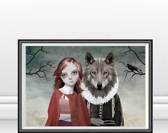 Red Riding Hood Art Print - Red Riding Hood And Wolf - Fairytale Art Print - Fairytale - Red