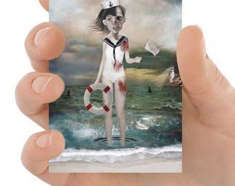 Lowbrow Art - ACEO Art Print - Shark Infested Waters Art - Sailor Girl & Sharks - Artist Trading Card - Lowbrow - Last Chance