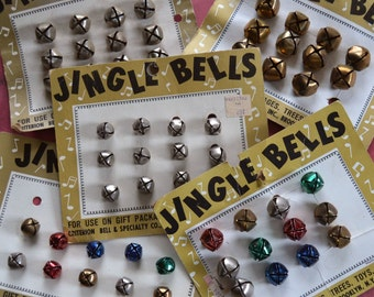 Vintage Metal Christmas Jingle Bells on 5 Cards by Criterion Bell