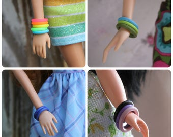 5 Rubber Bangle Bracelets for 11 1/2 - 12 inch 1/6th scale Female Fashion Dolls Pick from 56 Colors 5 New Colors
