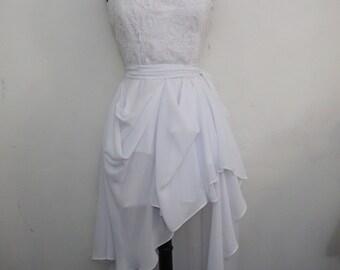 Short Chiffon Bridal Skirt, Removable Chiffon Skirt, High-Low Bridal Skirt,
