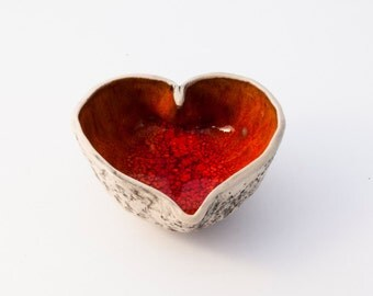 Christmas gift  -  Handmade ceramic HEART BOWL RED