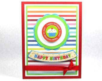 Happy birthday cards, cupcake birthday cards, cupcake cards, kids birthday cards, children's birthday cards, girls birthday card
