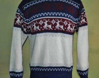 M Vintage 1970s 70s Vintage Reindeer Ski Sweater Nordic Alpine Ski Sweater Men's Ski Sweater Christmas Sweater