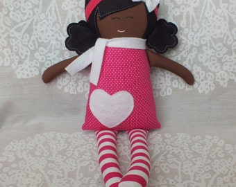 Handmade doll, rag doll, black doll, brown doll, african american doll, soft doll, cloth doll, gift for a girl, valentines day, ook, cute