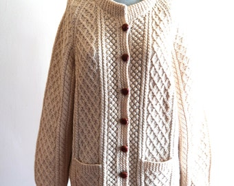 IRISH WOOL leather button knit cardigan sweater sz. Small / Medium