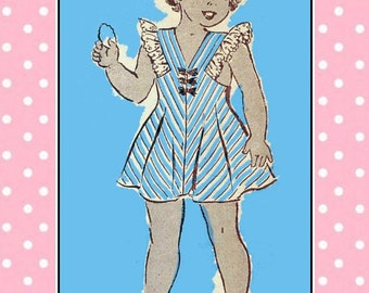 Vintage 1940s-SUNDRESS-PINAFORE-BLOUSE-Mail Order Sewing Pattern-V Neckline-Back-Eyelet Trim-Button Bows Trims-Peter Pan Collar-Size 10-Rare