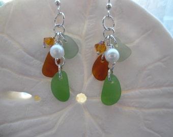 Earrings Sea Glass Sterling Beach Glass Earrings Jewelry Chandelier Sterling Silver