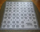 Quilt top, Gray Bear and Bear Paw, Pieced blocks and appliqued bear, unfinished, pressed and ready to be quilted