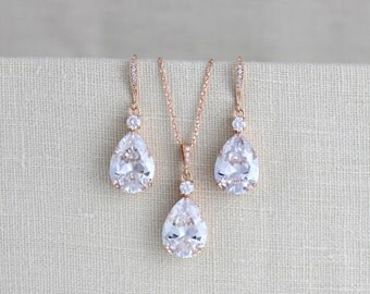 Rose Gold Wedding jewelry SET, Bridal necklace Set, Crystal Wedding earrings, Rose Gold necklace, Bridesmaid jewelry, Teardrop earrings