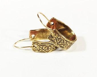 Small Hoop Earrings, Etched Brass, Art Deco Flower Earrings