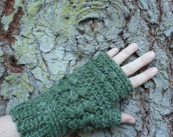 Crochet Hemp Wool Chunky Green Fingerless Mitts hand warmers wristers gloves hand knit ready to ship