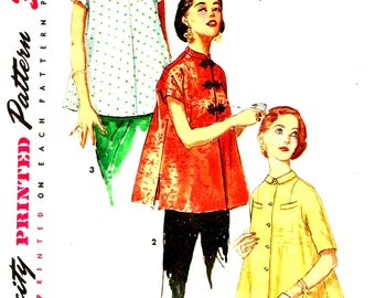 Vintage 1950s Maternity Top  Cheongsam Blouse Mandarin Asian Stand Up Collar Simplicity 1552 Sewing Pattern Size 13 Bust 31 Misses