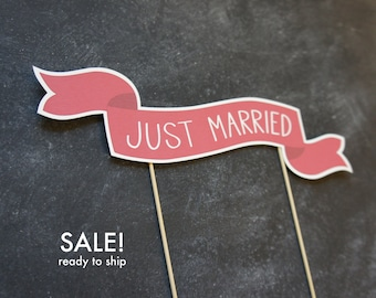 SAMPLE SALE - 50% off - Ready to Ship Cake Banner No. 2 - Just Married | Wedding Cake Topper | Sale | Cake Banner | Paper Cake Topper