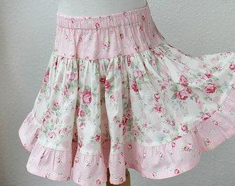 Floral Rose Toddler Skirt Pink Toddler Girl Clothes Size 18m 2T 3T 4T 5 6 Girl Toddler Twirl Skirt Handmade Summer Toddler Girl Clothing