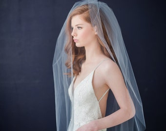 Double tier tulle  bridal veil with extra long blusher - FREE SHIPPING*