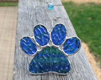 Streaky Blue and Green Paw Print Stained Glass Suncatcher