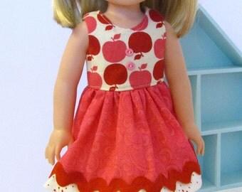 "Wellie Wisher Pinky Apple Dress - 14.5"" Doll - Ready to Ship"