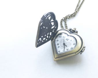 Antique Brass Lace Heart Pocketwatch Necklace