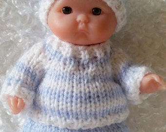 Berenguer Baby Doll Knit Sweater Pants Set fits Itty Bitty Chubby 5 inch Berenguer Baby Dolls