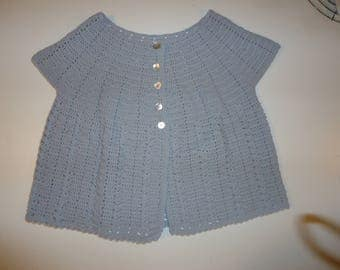 Dove-Gray Short-Sleeved Crocheted Cardigan Sweater