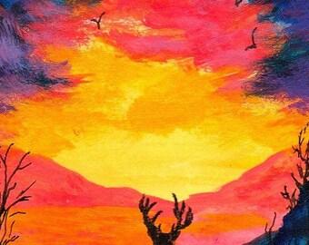 ACEO Deer Birds Daybreak Sunrise Storm Silhouettes Inspirational Artwork Adams Original Mixed Media Landscape Painting Acrylics Inks