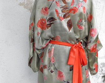 Hand painted kimono- Sakura Blossoms- Silk Satin Kimono Robe in  Sage Gray Coral- Silk Tunic- Hand Painted Kaftan Robe-Floral Silk Kimono