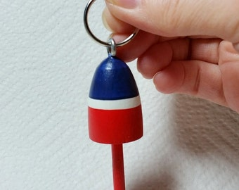 Lobster Buoy Key Chain, red white and blue