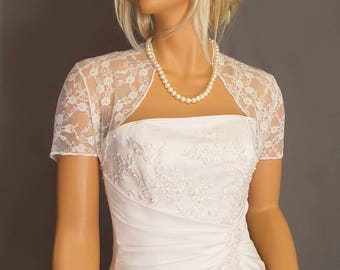 Lace bolero jacket shrug bridal wedding short sleeve wrap cover up LBA300 AVAILABLE IN white and 4 other COLORS small through plus size!