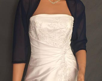 Chiffon bolero shrug jacket 3/4 sleeve trimmed wedding wrap bridal cover up CBA204 AVL IN navy blue and 4 other colors. Small - Plus size!