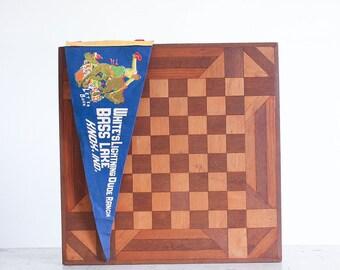 Vintage Wooden Checker Board / 1940's Folk Art / Rustic Decor