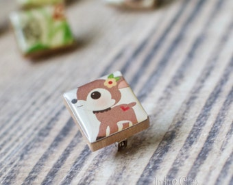 Woodland Deer Scrabble Brooch, Handmade Animal Scrabble Tile Art Pin, Tiny Wood Tile Brooch, Scarf Pin, Lapel Pin Badge, Animal Lover Gift