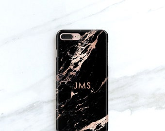 Rose Black Marble Phone Case Personalized Gift for Her, Sister, Mom, iPhone 8, 7, 6S, SE, Plus Case Custom Gift Ideas for Blogger
