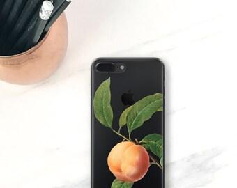 Peach iPhone 7 Plus Case Clear Peachy iPhone 7 Case Fruit Botanical iPhone 6S, Plus, SE, 5S, 5, Peaches Clear Phone Case
