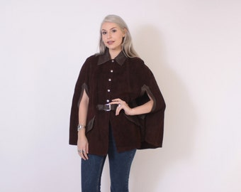 Vintage 60s Leather CAPE / 1960s 2-Tone Brown Suede Leather Belted Hippie Poncho