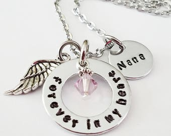 Forever in my Heart Memorial Necklace, Memorial Gift, Loss of nana grandma, Sympathy Gift, Remembrance Jewelry, Memory Necklace