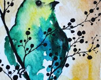 Original Bird Watercolor ACEO  Miniature Painting