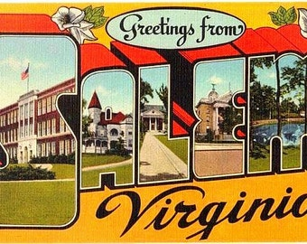 Vintage Virginia Postcard - Greetings from Salem (Unused)
