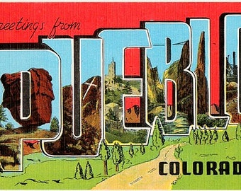 Vintage Colorado Postcard - Greetings from Pueblo (Unused)