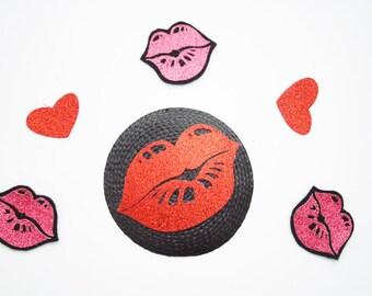 Glitter Lips fascinator - kiss kiss fascinator - bridesmaid accessory - fun fascinator