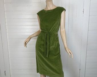 60s Velvet Dress in Moss Green- 1960 Mod Shift- Cap Sleeves- Cocktail / Party