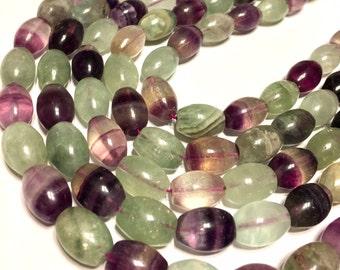 """Flourite beads full 15"""" stand."""