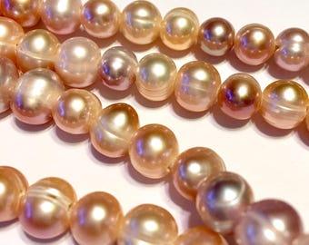 """Pearls with GIANT holes natural pink mauve color 7"""" strand hard to find special large holes"""