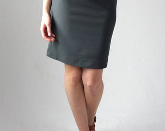 Pencil Skirt / Grey Pencil Skirt / Work Skirt / Office Skirt / High Waisted Skirt / Stretch Pencil Skirt / Office Fashion / Work Clothes