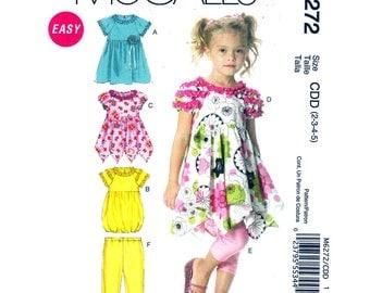 Girls Dress, Leggings Pattern McCalls 6272 Shaped Hem Dress Pull-On Pants Girls Size 2 3 4 5 Sewing Pattern UNCUT
