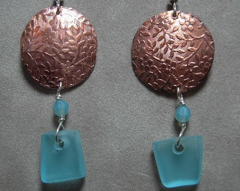 Earrings-Beach Glass and Copper