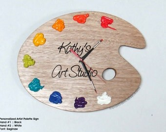Personalized Art Palette Wall Clock with Paint with Quote or Wording of your Choice - Unique Art Studio Decor or Artist Gift