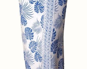 Men's Beach Sarong Wrap Batik Sarong - Men's Clothing Surf Swimwear Pareo Hawaiian Tropical Jungle Leaf Sarong - Long White Sarong with Blue