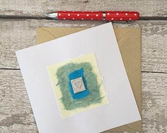 Bespoke ceramic gift card, wedding, birthday, anniversary, hand made card