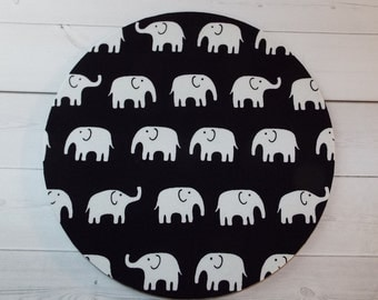 Elephants Mouse Pad mousepad mouse Mat - Rectangle or round - white elephants on black elephant mousepad